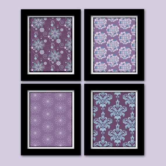Items Similar To Teal Purple Abstract Flowers Wall Decor