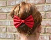 Hair Bow-Red, Fabric- Hair Bows, hair bows for women, hair bows for teens, fabric-Bow, Red hair bow