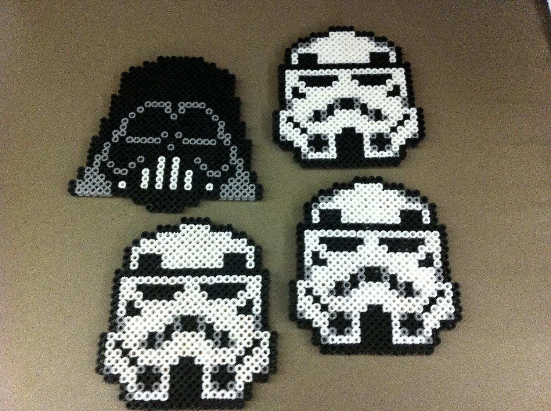 Star Wars Perler Bead Coaster Set by NerdyNella on Etsy