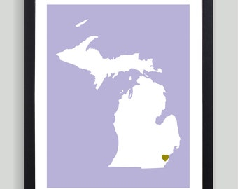 My Heart Resides In Michigan Art Print - Any City, Town, Country or State Map Customized Silhouette Gift