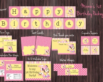 Personalized Minnie Mouse 1st Birthday Party Package