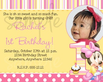Minnie Mouse 1st Birthday Invitation, first birthday, minnie mouse, first birthday party