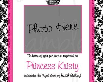Damask Princess Birthday Invitation