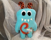 Monster Plush Stuffed Toy: Teal Blue with Letter C and Cow
