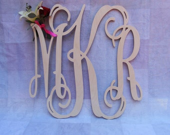 "22"" Vine Script Three Letter Monogram- Wood Letter monogram-home decor- wedding decor"