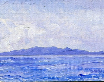 Original Oil ACEO Painting of Arran in Blue