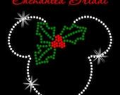 Disney Inspired Mickey With Holly Iron On Christmas Winter Rhinestone Transfer DIY