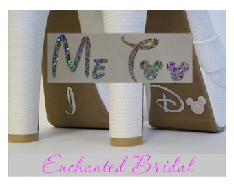 Disney I Do and Me Too Shoe Stickers You Pick Color Sparkly Vinyl Wedding Shoe Decals