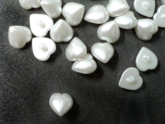 20 PCS of Vintage Pearly White HEART shape  Plastic Buttons  with loops  for Bridal , Sewing, Fashion and Accessories.