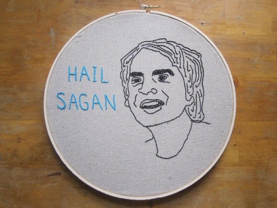 Hail Sagan: Hand-Embroidered Carl Sagan Portrait (large)