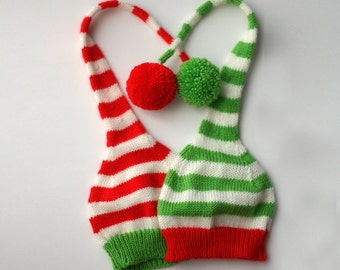 Christmas hat -  kids Christmas knitted hat - Santa hat - Red white green stripes - Photo prop - toddler knitted hat