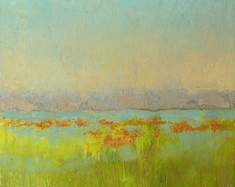"""Tranquil Sky, original oil on canvas, abstract landscape, 10"""" x 8"""""""