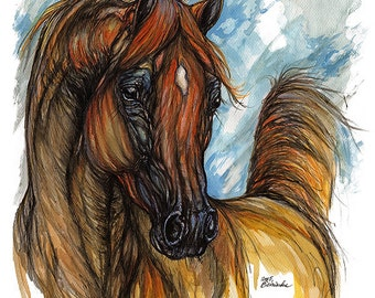 Framed original pen and watercolour painting of a chestnut arabian horse
