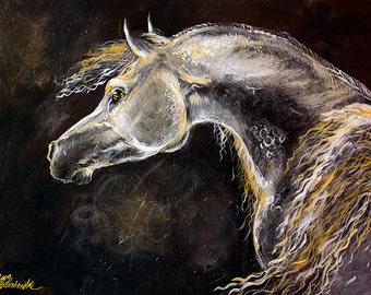 Grey horse original acrylic painting on board