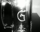 Monogram Single Initial Etched Glass Large Beer Mug