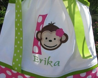 Mod monkey pillowcase dress with any number and name