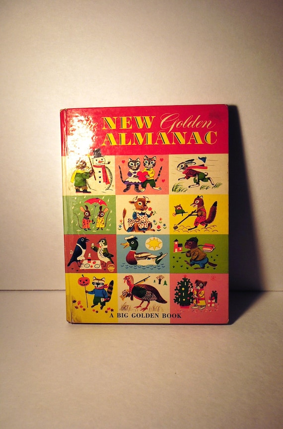 Richard Scarry First edition.....The New Golden Almanac, Big Golden Book, circa 1952............... vintage childrens book no. 110