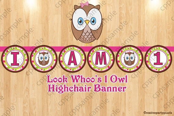 items similar to look whoo 39 s 1 highchair banner owl high