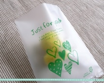 """Set of 20 - Just For You & Hearts Cookie Bags - Medium Size, Green // Gift Bags, Wedding Cookie Bags // Heat Seal, Translucent // 4"""" by 5.2"""""""