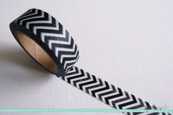 Black and White Chevron Washi Tape / Masking Tape - 10m