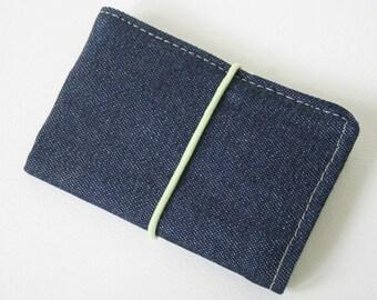 """Small Wallet """"Dark Blue Denim"""", Buisness cards holder"""