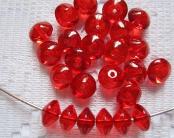 25  Christmas Ruby Red Transparent Saucer Czech Glass Beads  7mm
