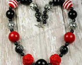 Black, Red and White with Red Roses Chunky Beaded Bubblegum Necklace for Girls or Womens