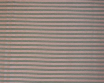 Vintage fabric. Green and tan stripe. 4 yds