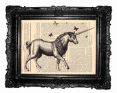Unicorn - ORIGINAL ARTWORK Unicorn print , Art  print ,HAND Painted- Mixed Media  dictionary print