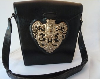 Museum Quality 1940's Nettie Rosenstein Black Leather Heraldic Shield Handbag