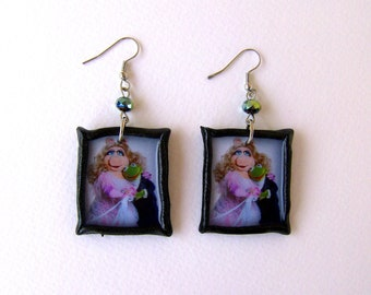 Kermit Miss Piggy Muppet Show polymer clay Earrings
