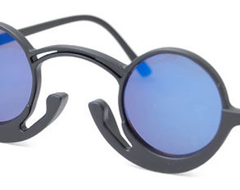 Vintage Hippie Round Sunglasses (Black/Blue) (NOW on SALE)Cool Sunglasses with Blue Lenses.
