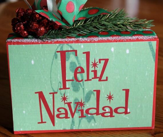 Christmas Sign Decorations: Items Similar To Spanish Christmas Sign -Feliz Navidad