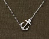 Silver Anchor Necklace - Sterling Silver Chain