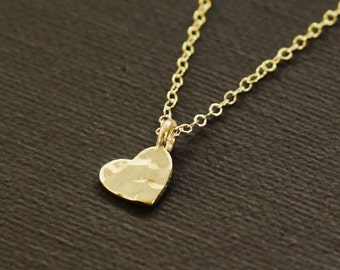 Small Gold Heart Necklace - Hand Hammered
