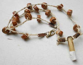 Necklace Totem Choker pendant necklace in red cedar wood boho down to earth woodland jewelry