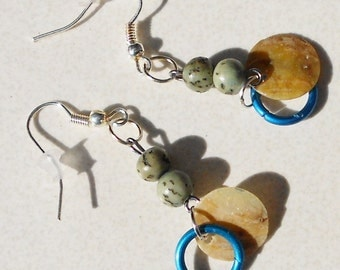 Pierced dangle earrings in Turquoise Ocean salwag wood and oyster shell rings