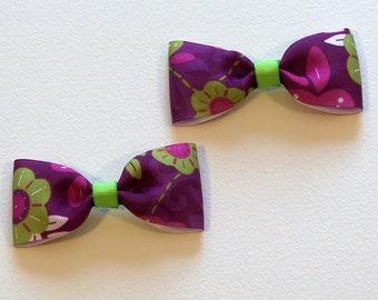 Green Flower Bow Tie Hair Bow Set