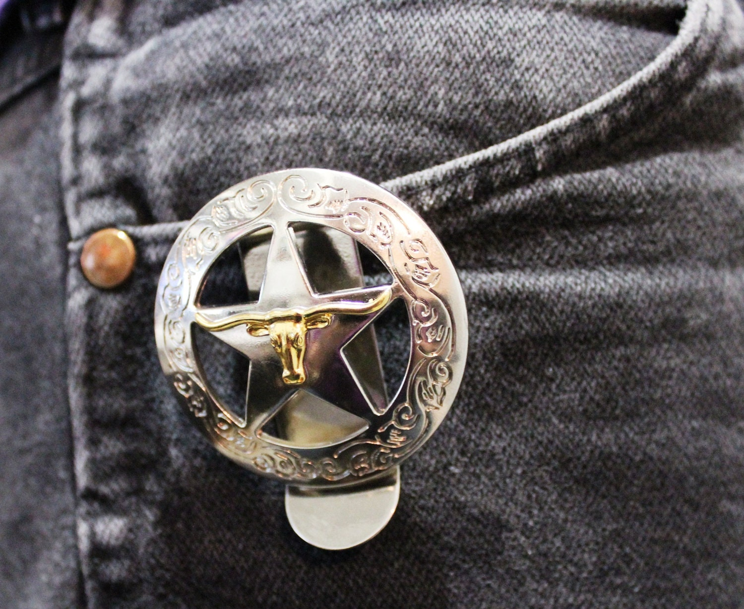 Texas Longhorn Star Out Of The Pocket Key Holder 1 1/2 Inch