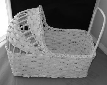 Vintage Wicker Cradle - Great for Baby Shower Decorations