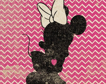 Minnie Mouse Inspired Silhouette on Chevron Background: 5X7 Art Print, With Heart Studios - Disney, Nursery, Vintage, Poster