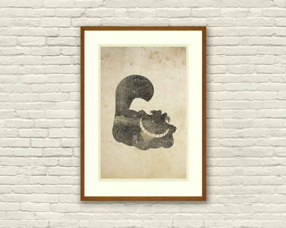 Cheshire Cat Inspired Silhouette 11x17 Art By