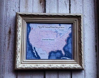 Shabby Chic Map of the Continental United State of America