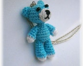 Crochet Necklace Bear, Miniature Bear, Free Shipping