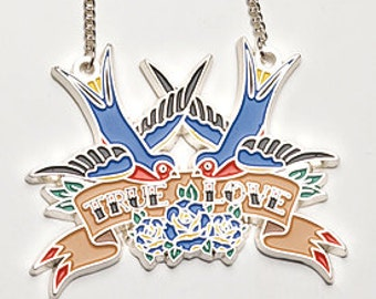True Love - Blue. Tattoo style swallow and roses necklace.