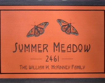 Personalized House Sign - Arts and Crafts Style Bungalow Sign - William Morris Inspired Custom Sign - Bungalow Style Personalized Sign