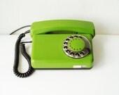 Green Rotary Telephone Vintage Dial Desk Telephone Home decor