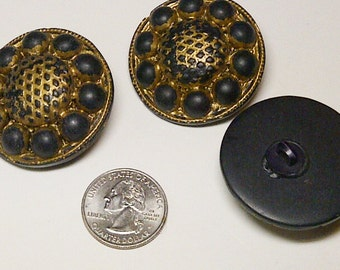 LOT of 3 Buttons - Gold & Black - Plastic Buttons - Large Buttons