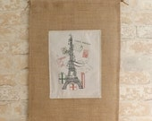 Eiffel Tower Holiday Christmas French Burlap Wall Hanging- Paris France Shabby Chic Home Decor - sendinspirations