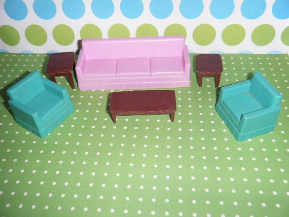 Vintage Plastic Dollhouse Furniture Living Room Group Couch Tables Side Chairs Coffee Table CUTE